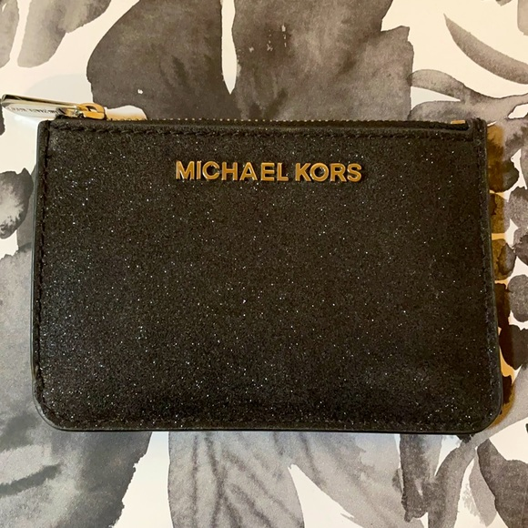 Michael Kors Black Glitter Small Card Holder Fob